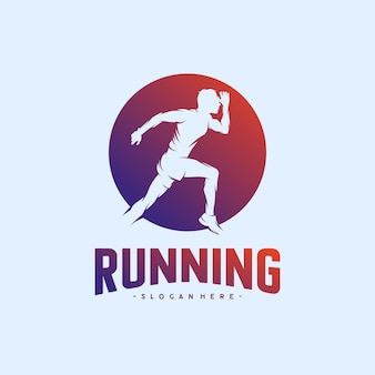 Conceptions De Logo De Silhouette D'homme En Cours D'exécution Vecteur Premium