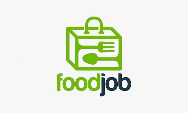 Conceptions de logo de travail de nourriture, logo de valise de nourriture