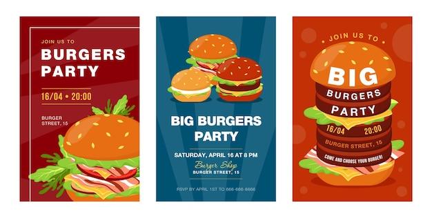 Conceptions à la mode d'invitation de partie de grands hamburgers. invitations créatives de festival de restauration rapide avec de la malbouffe savoureuse. illustration de bande dessinée