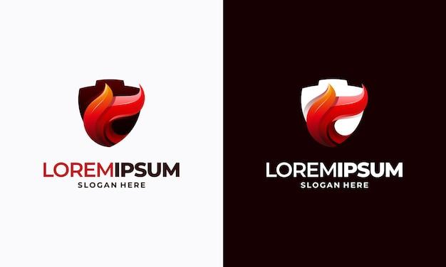 Conceptions de modèles de logo de bouclier d'incendie modernes, symbole de conceptions de logo de bouclier