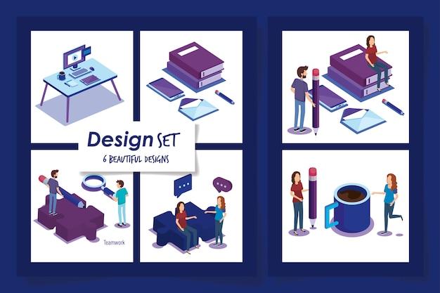 Conceptions de personnes avec des équipements de bureau