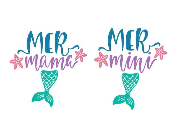 Conceptions de typographie mermama et mermini.