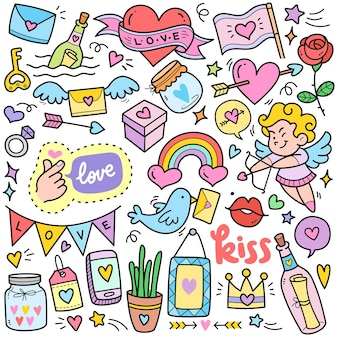 Concepts d'amour abstrait éléments graphiques vectoriels colorés et illustrations de griffonnage