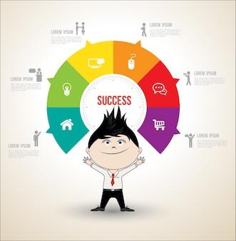 Concepts de cercle de vecteur avec l'homme d'affaires