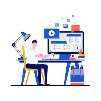 Concepts de cours en ligne avec un étudiant passant un test en ligne