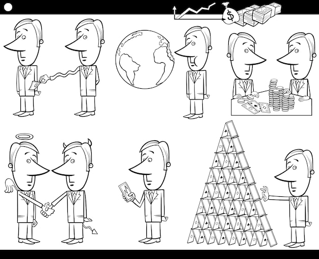 Concepts de dessin animé d'affaires et ensemble d'idées