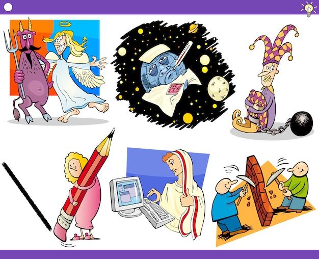Concepts de dessin animé et ensemble d'idées