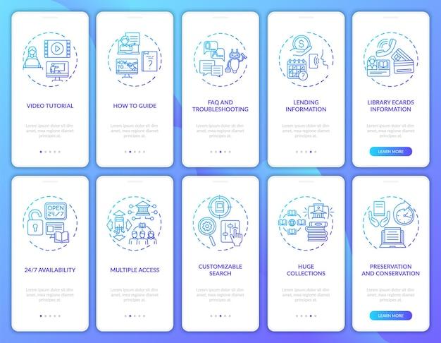 Concepts d'écran de page d'application mobile d'intégration de la bibliothèque en ligne. types de bibliothèques numériques: instructions graphiques en 10 étapes. modèle d'interface utilisateur avec illustrations en couleurs rvb