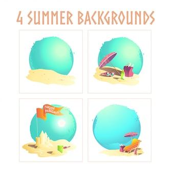Concepts d'été avec château de sable, soleil, transat, ciel. illustration.