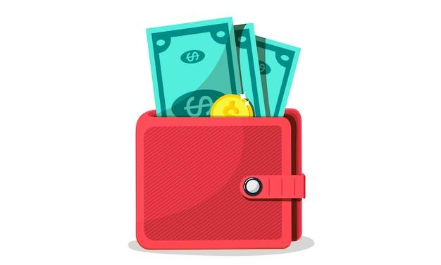 Concepts de finance. portefeuille avec argent, dollars et pièces de monnaie, espèces, devises, carte de crédit. concept de richesse.