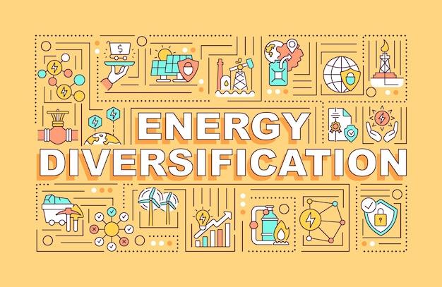 Concepts de mots de diversification énergétique. utilisation de différentes sources d'énergie.