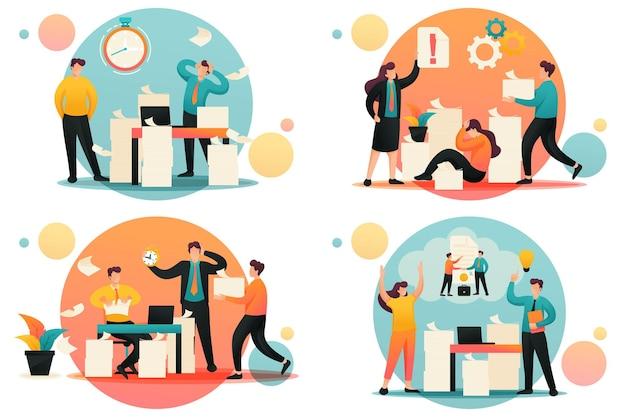 Concepts plats 2d solution de problème, gestion de documents, dépression au travail. annulation de contrat. concept pour la conception de sites web.