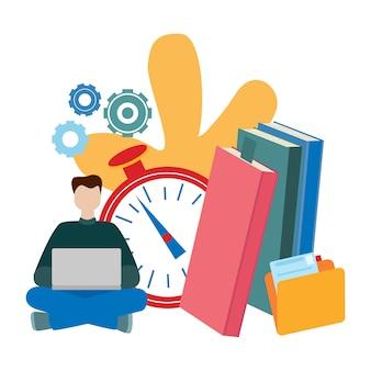 Concepts pour l'éducation en ligne, livre électronique, e-learning, auto-éducation.