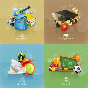 Concepts scolaires, set vector