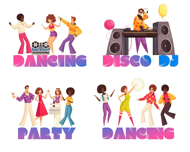 Concepts de soirée disco avec illustration plate de gens dansants