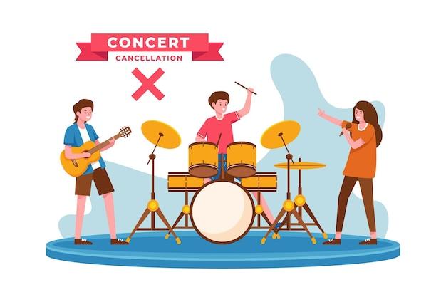 Concert du groupe annulé illustré