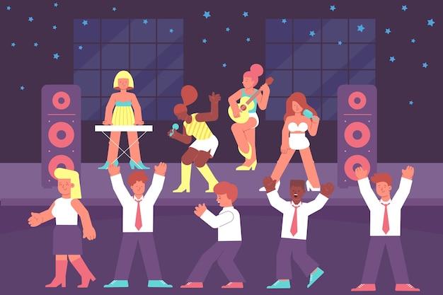Concert avec une foule élégante