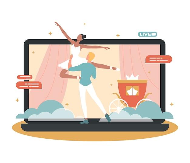 Concert en ligne. artiste de ballet faisant un spectacle en ligne
