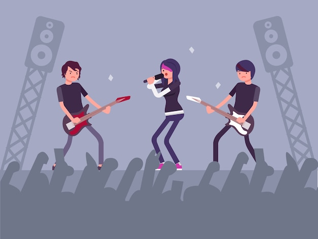 Concert de musique avec public complet