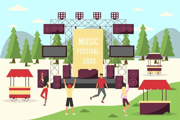 Concert en plein air avec des gens qui dansent