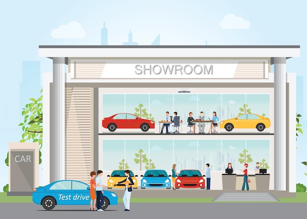 Concessionnaire automobile moderne dans la salle d'exposition