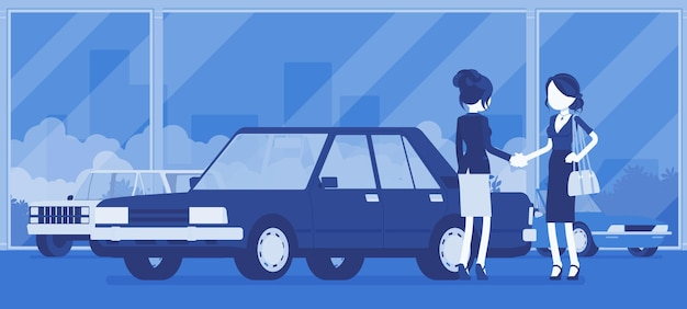 Un concessionnaire automobile vend un nouveau véhicule rouge à une femme. une femme achetant une voiture dans un magasin automobile, concluant un accord avec le directeur de l'agence, accepte officiellement un accord. illustration vectorielle, personnages sans visage
