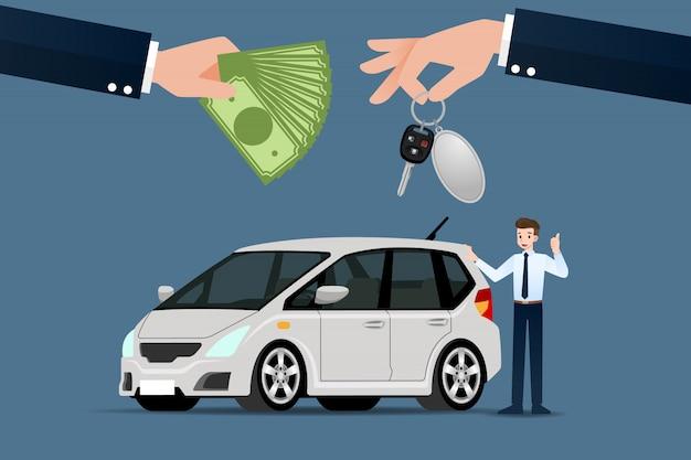 Le concessionnaire automobile vend une voiture.