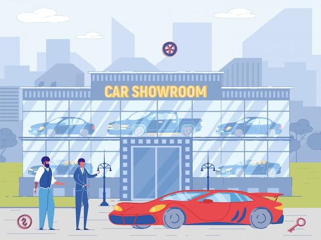Un concessionnaire vend une voiture rouge à prix élevé à un nouveau propriétaire