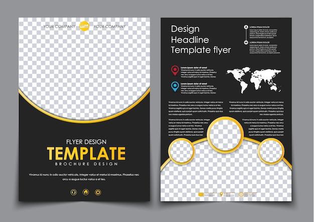 Concevez 2 pages de a4 noir avec des éléments jaunes. modèle de flyer avec espace pour photos et code qr, carte du monde et informations de contact.