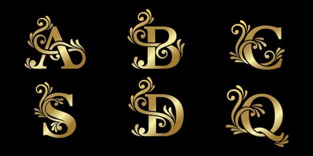 Concevez un logo de luxe avec des lettres initiales, style monogramme, avec un design doré. identité d'entreprise élégante.
