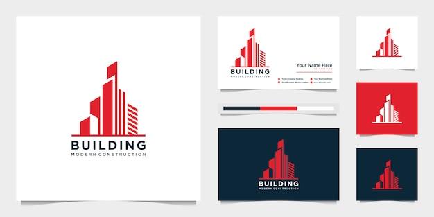 Concevez des logos et des cartes de visite de construction de bâtiments, inspirant des logos abstraits de construction de ville modernes.