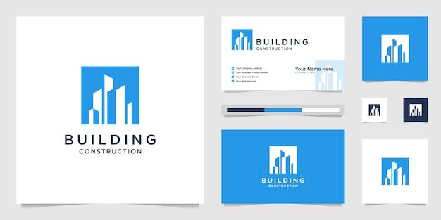 Concevez des logos et des cartes de visite pour la construction de bâtiments, inspirant les logos abstraits de la construction de la ville