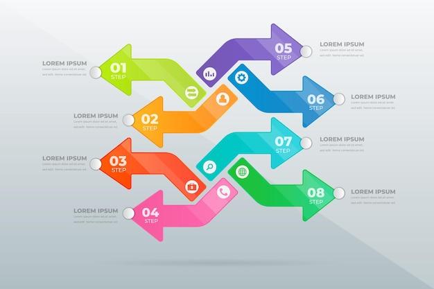 Concevoir des étapes professionnelles modernes infographiques