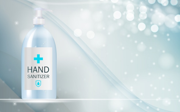 Concevoir un modèle de produit cosmétique pour les annonces ou le fond du magazine. gel antibactérien, désinfectant pour les mains illustration réaliste 3d