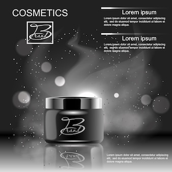 Concevoir un produit publicitaire cosmétique sur fond noir. modèle, vierge, pour votre conception.