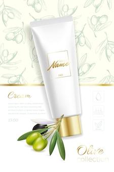 Concevoir la publicité des produits cosmétiques pour le catalogue, le magazine. maquette du paquet cosmétique. crème hydratante, gel, lait pour le corps à l'huile d'olive.