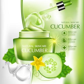Concombre crème naturelle hydratation soins de la peau cosmétique