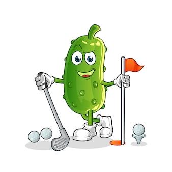 Concombre jouant au golf. personnage de dessin animé