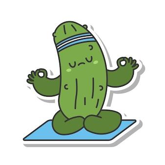 Concombre mignon faisant l'autocollant de dessin animé de vecteur d'exercice d'yoga isolé sur fond blanc.