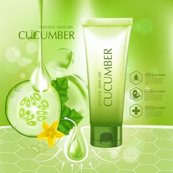 Concombre naturel mousse du visage hydratation soins de la peau cosmétique
