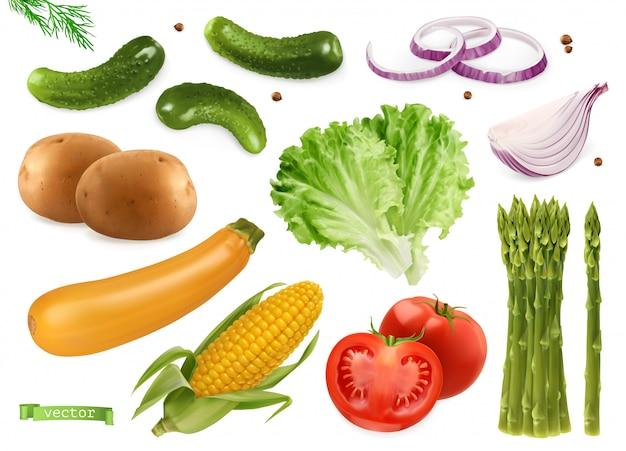Concombres, graines de coriandre, oignons, pommes de terre, laitue, courgettes, maïs, tomate, asperges. ensemble réaliste de légumes 3d
