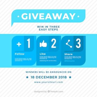 Concours de médias sociaux ou concept de cadeau