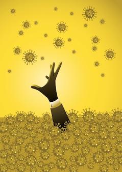 Concpet de pandémie et de crise financière. un homme d'affaires effrayé se noie dans une mer de virus corona (covid-19, virus)