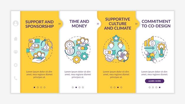 Conditions du modèle d'intégration de conception collaborative. soutien, parrainage. temps et argent. site web mobile réactif avec des icônes. écrans d'étape de visite virtuelle de la page web. concept de couleur rvb