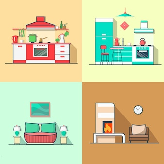 Condo logement cuisine chambre salon intérieur ensemble intérieur.