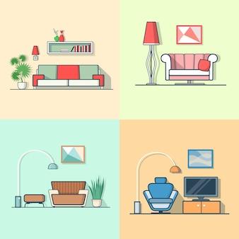 Condo logement salon confortable intérieur minimaliste moderne minimalisme ensemble intérieur.