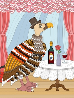 Condor gentleman avec du vin coloriage adulte