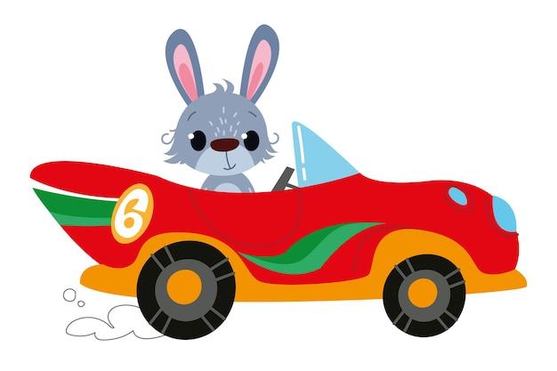 Conducteur de lapin. voiture rouge de course de dessin animé moderne de vecteur. hare auto kids logo drôle et mignon. impression garçonne - pour les vêtements, les cartes, les bannières. icône de lecteur de clipart comique