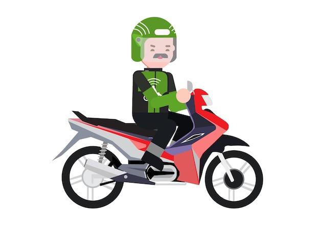 Conducteur ojek en ligne conduite seul avec sa moto