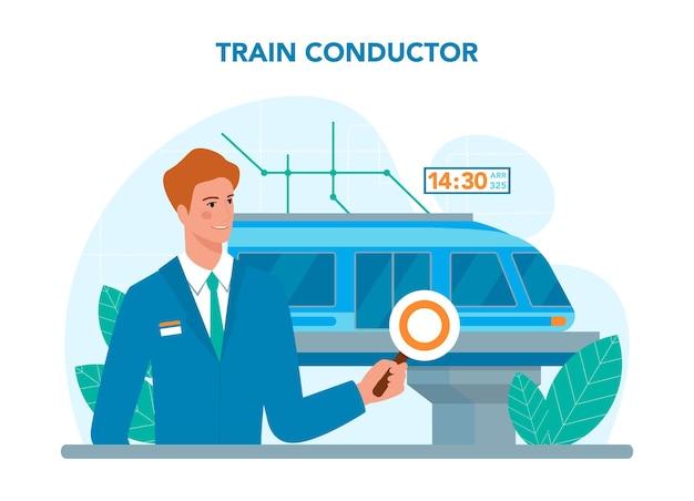 Conducteur de train. employé des chemins de fer en uniforme de service. illustration vectorielle